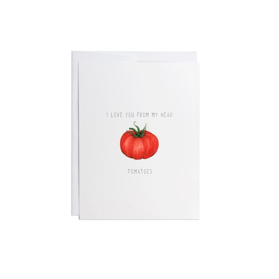 I love you tomato greeting card watercolors handmade etsy image 0 m4hsunfo