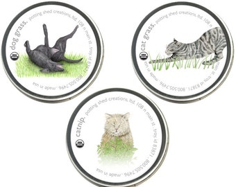 Pet Garden Sprinkles Seed Collection Organic – Sprinkles - Seeds - Pet Gifts - Cat - Dog - Barley - Cat Grass - Wheat - Dog Grass - Catnip