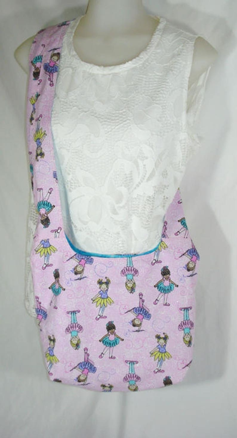 HOBO Over the Shoulder TOTE BAG Ballet Girls on sparkly pink background fabric