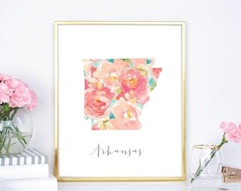Arkansas Flower Watercolor State 8x10, 16x20 Print  - DIY Printable - Digital Download Print - Chic Wall Decor - Watercolor Flowers - State