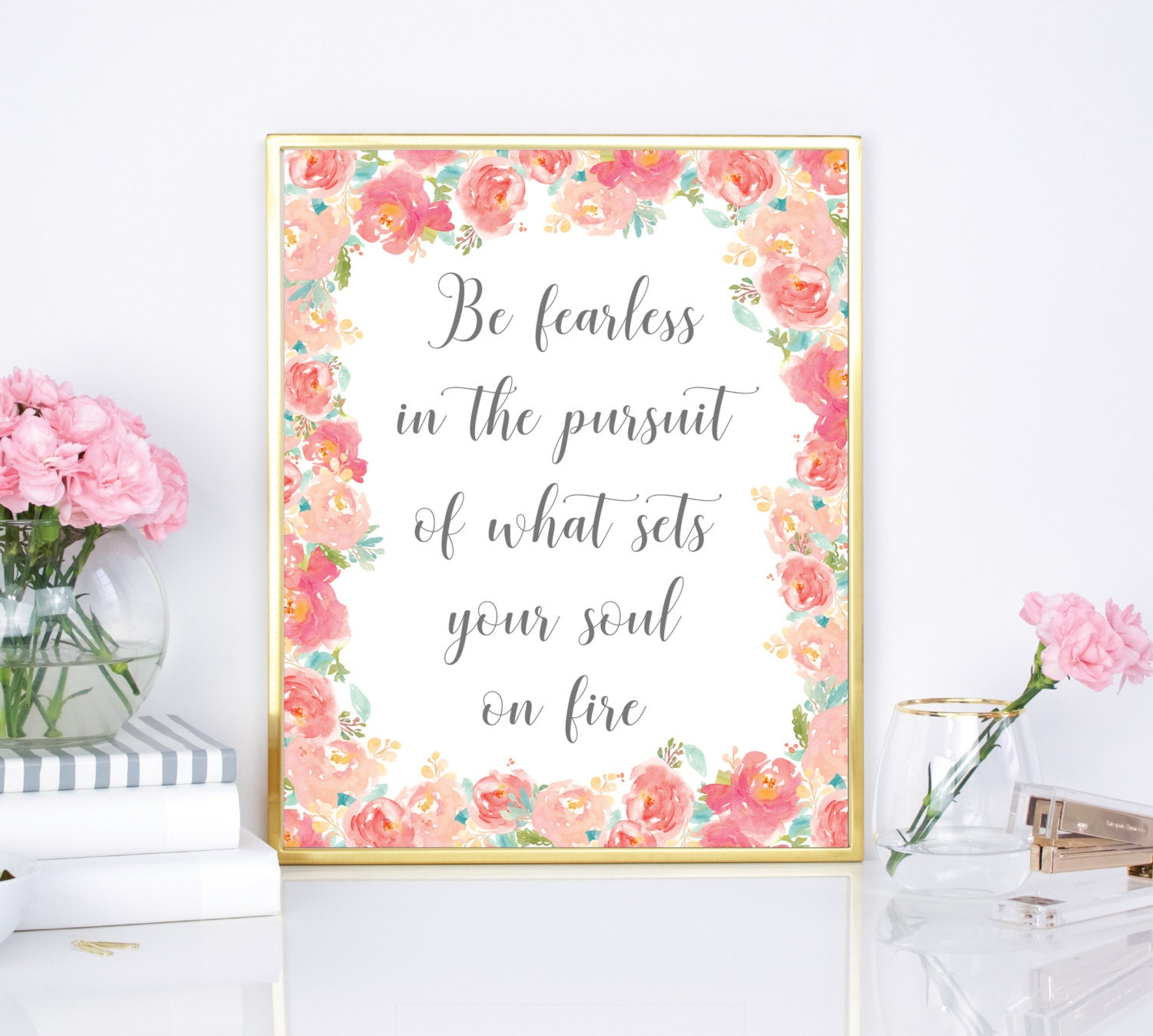 Be Fearless Print Inspirational Quote Printable 8x10
