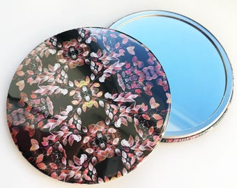 Pocket Mirror ~ Leaf Illustration ~ Watercolour Design ~ Surface Pattern ~ Print Design ~ Accessories ~ Compact ~ Hand Drawn