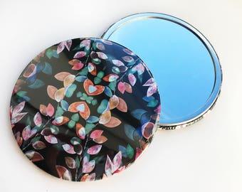 Pocket Mirror ~ Illustration ~ Watercolour Design ~ Floral Pattern ~ Print Design ~ Accessories ~ Compact ~ Floral