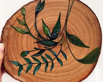 Wooden Art ~ Tropical Illustration ~ Watercolour ~ Home Decor~ Wall Decor ~ Accessories ~ Hand Drawn ~ Wall Art ~ Table Decoration ~ Wedding