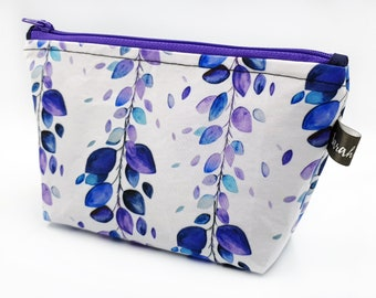 Mini Cosmetic Bag ~ Leaves ~ Leaf ~ Handmade ~ Watercolour ~ Surface Pattern ~ Print Design ~ Accessories ~ Hand Drawn