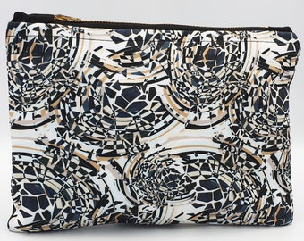 Cosmetic Bag ~ Clutch Bag ~ Handmade ~ Watercolour Design ~ Mosaic design ~ Surface Pattern ~ Print Design ~ Accessories ~ Hand Sewn