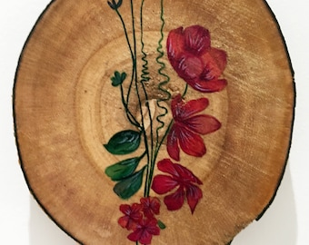 Wooden Art ~ Floral Illustration ~ Watercolour ~ Home Decor~ Wall Decor ~ Bouquet Illustration ~ Hand Painted ~ Wall Art ~ Wall Decoration