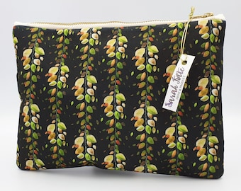 Cosmetic Bag ~ Clutch Bag ~ Autumnal ~ Handmade ~ Watercolour Design ~ Surface Pattern ~ Print Design ~ Accessories ~ Cosmetic bag