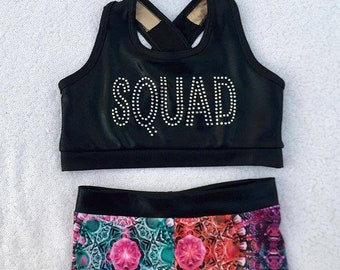a5bc52a9ffa27 SQUAD Cheer Practice Set- Cheer Practice Wear - Tumbling Set - Bling