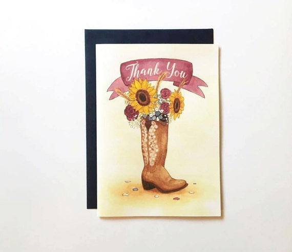 Country Thank You Card Rustic Thank You Country Western Etsy