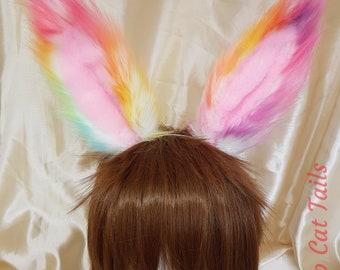 Pastel Rainbow Bunny Ears - rabbit ears, easter, cosplay, anime, pet play, rave, festival