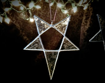 Pentagram Icicle - Stained Glass - Ornament - Handmade
