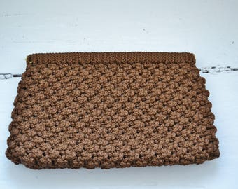 Vintage 1970's Large Brown Knit Clutch