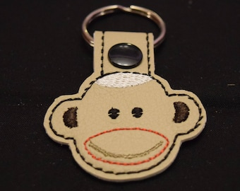 Sock Monkey KeyChain, Snap Tab, Key Fob, Bag Tag, Embroidered, Sock Monkey  Gift