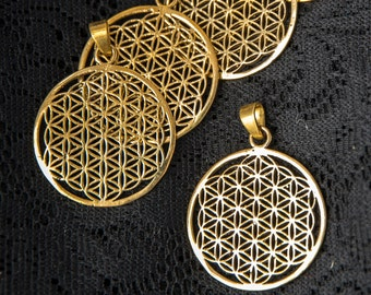 Pendientes de Latón Tribal India Hippy GOA PSY Mandala semilla geometría sagrada de la vida