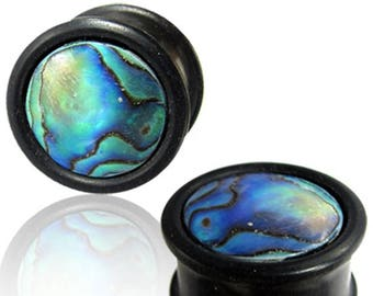 Abalone ear tunnels, wooden ear stretchers, wood plug earrings, 1/2 gauge earrings, 0G ear stretcher, 2G 00G 6mm 10mm 8mm 12mm PL24