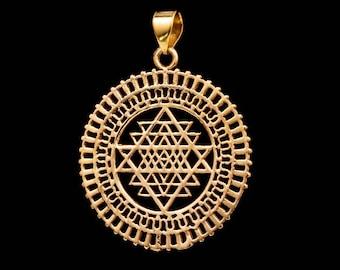 SRI YANTRA MANDALA Pendant necklace antique brass meditation yoga visualization ancient india BP06