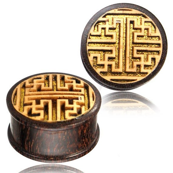 Tunnels, Gauges, Plugs Geometric Patter Wooden Engraved Plug PRICE PER PLUG-