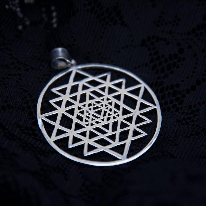 Sri yantra silver pendant large mandala mantra shiva unity necklace yoga  jewelry sacred geometry mens charm white brass tribal BP38