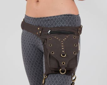 Festival Utility Belt with Leg Strap, Burning Man Holster Pocket Thigh Bag, Plus Size Large Harness Waist pouch, Fanny Pack, Steampunk Belt