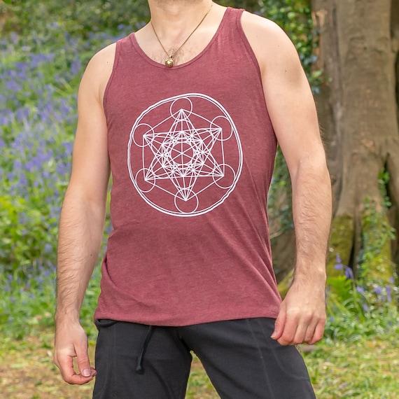 MERKABA  Meditation Spiritual  Sacred Geometry MENS TEE SHIRT free post 3 RED