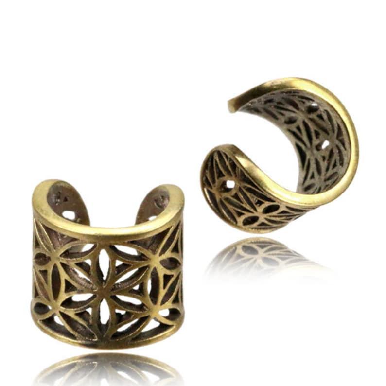 Flower of life ear cuff dread bead toe ring dreadlock accessories ring hair jewelry sacred geometry brass gold tribal boho festival DB8