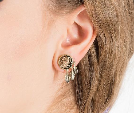 Dreamcatcher Ear Stretcher Plug Tunnel Earrings Brass Gold Etsy Beauteous Dream Catcher Tunnels