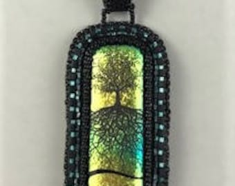 Small Dichroic Tree  cabochon by Lyn Owen beaded necklace