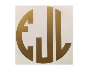4 inch Monogram Decal - Medium Monogram Decal -  Personalized Vinyl Decal