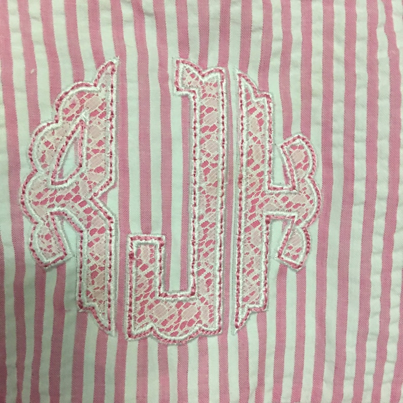 Girls Monogrammed Seersucker Ruffle Bottom Dress Spring Easter Dress Applique options Free shipping within 5 business days Embroidery