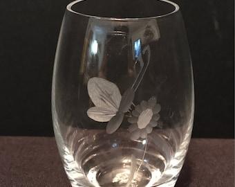 Vintage Kasta Sweden Clear Glass Etched Vase