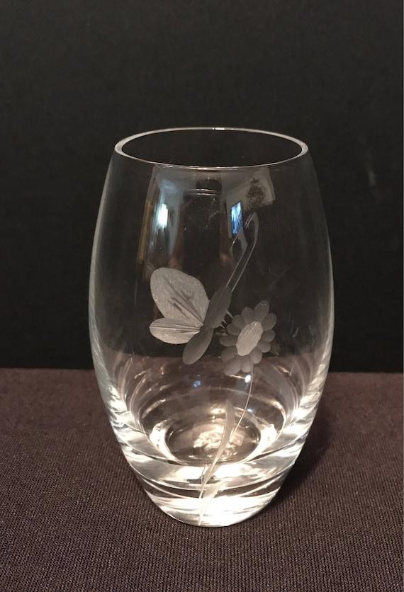 Vintage Kasta Sweden Clear Glass Etched Vase Etsy