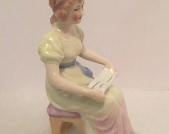 Vintage Girl Reading Book Porcelain Figurine