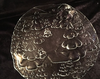 Vintage Tempered Glass Frosted Platter with House and Pine Trees