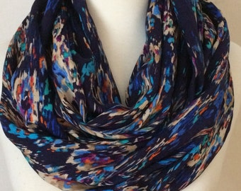 Infinity Scarf 100% Rayon Multicolored Gift for her Loop Scarves Scarfs lightweight fall christmas