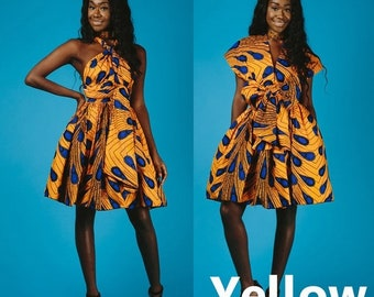 92011592cb2 Robe Jaune  Bleu Courte Imprimé africain Pagne Wax Robe Sans manches