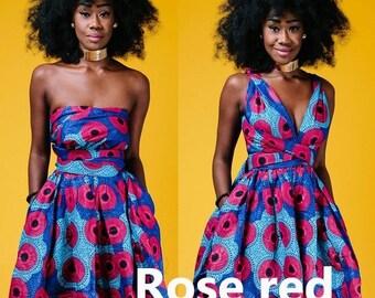 b9a2a0b2b2c Robe Bleu Rose Courte Imprimé africain Pagne Wax Robe Sans manches