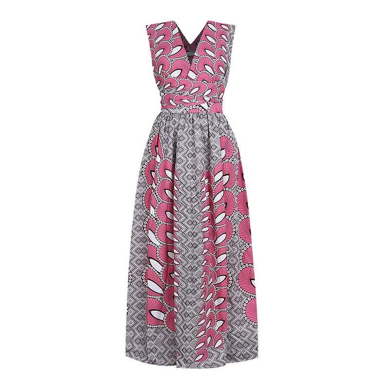 African Wax Long Grey Pink Sleeveless White Dress Infinity Dress Bridesmaid Dress