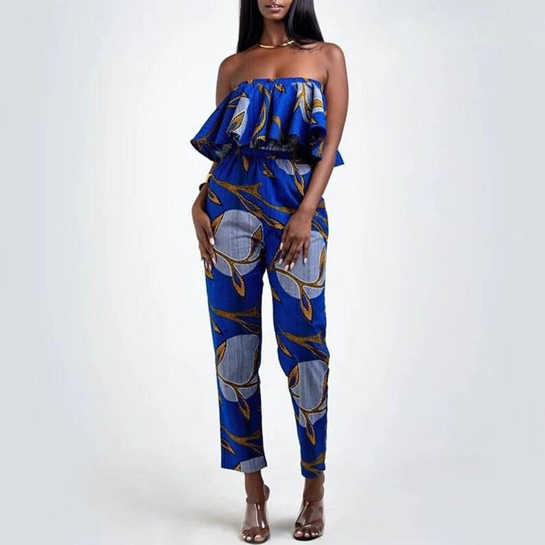 Women African Print Off Shoulder Ruffles Long Jumpsuit African Jumpsuit Dark Blue