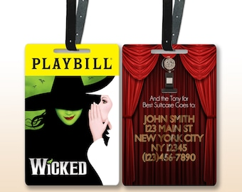 Broadway Playbill Personalized Luggage Tags w/ Leather Straps (Choose from hit shows like Wicked, Phantom of the Opera, Hamilton, and more)
