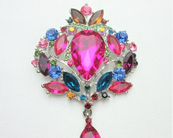 Multi Color Crystal Rhinestone Dangle Brooch,Crystal Rhinestone Jewelry Brooch,Bridal Bouquet Brooch, Wedding Sash Brooch