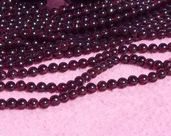 Garnet 6mm Round Beads 14 In Strand, 6mm, Natural Garnet, Red Gemstone, Round,