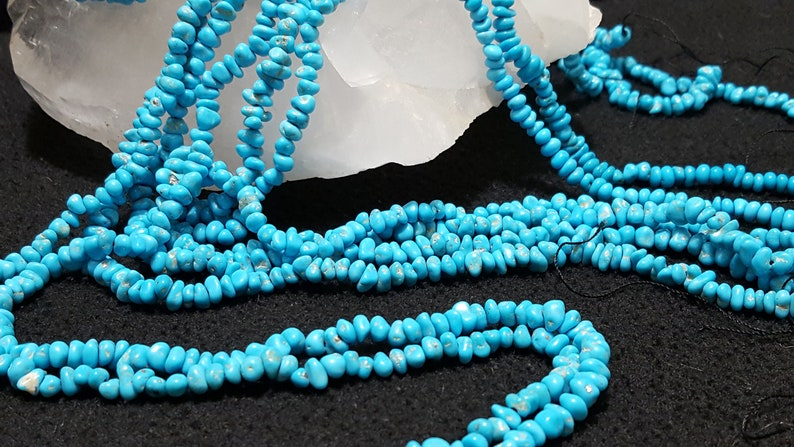 Sleeping Beauty Turquoise Center Drilled Pebble Beads 19 In Strand Natural Blue Turquoise From The Sleeping Beauty Mine Arizona AA Quality