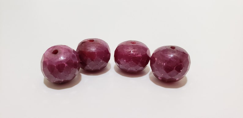 Untreated Corundum Bead 12mm x 9.5mm Natural Gemstone Approx Sold Per Bead 15ct Natural Ruby Faceted Rondelle Beads Deep Red Color