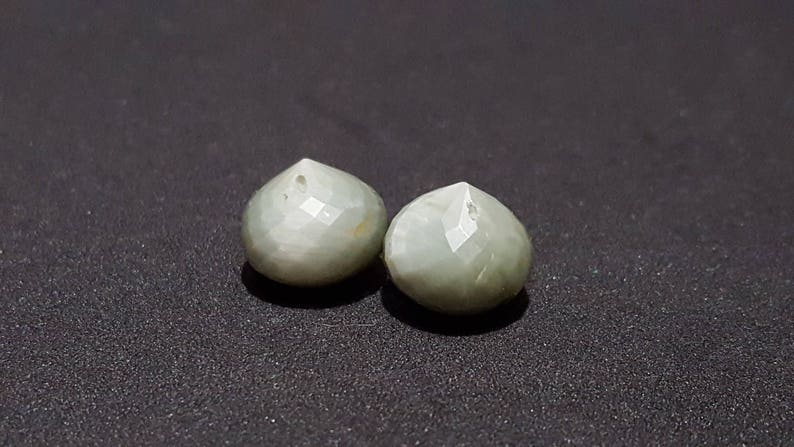 One Matched Pair Natural ChrysoberylGreen Cats Eye Faceted Onion Beads