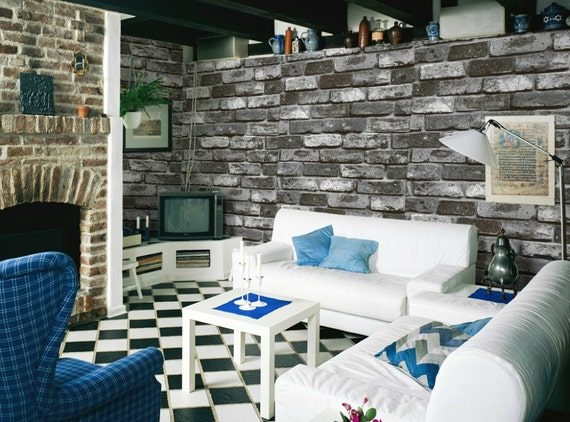 Black Stone Brick Wallpaper
