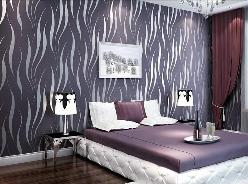 Purple Modern Wave Wallpaper Etsy