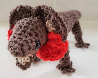 Hand Crocheted Lizzy the Frill-Necked Lizard