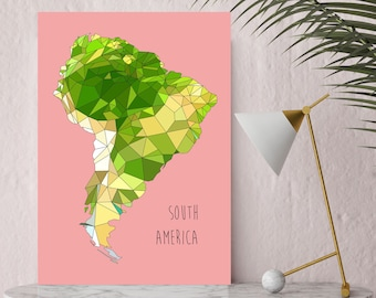 SOUTH America - Giclee Print - Yellow/Green or Pink - Limited edition - FREE Uk SHIPPING