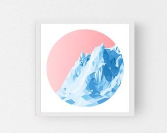 ICEBOAT - Sunrise - Art Fine Print - Giclee - Geometric Icebarg - Limited edition FREE Uk SHIPPING